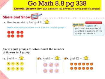Go Math Interactive Mimio Lesson 8.8 Find Part of a Group Using Fractions