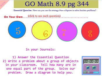 Go Math Interactive Mimio Lesson 8.9 Find the Whole Group Using Fractions