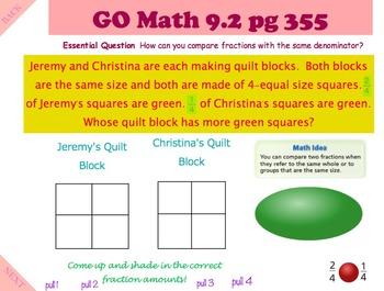 Go Math Interactive Mimio Lesson 9.2 Compare Fractions w/