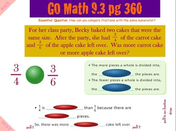 Go Math Interactive Mimio Lesson 9.3 Compare Fractions with Same Numerator