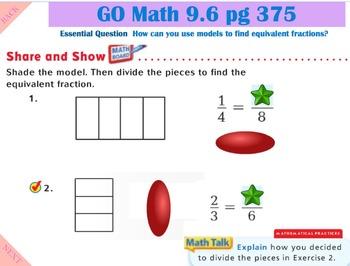 Go Math Interactive Mimio Lesson 9.6 Model Equivalent Fractions