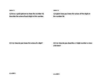 Go Math Journal Exit Slips (Chapter 1)