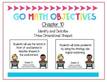 Go Math Kindergarten Chapter 10 Objectives