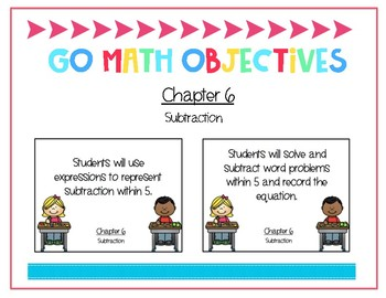 Go Math Kindergarten Chapter 6 Objectives