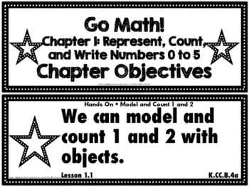 Go Math! Kindergarten Chapter Objectives