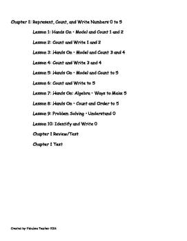 Go Math Kindergarten Chapters 1-6 Version 2015