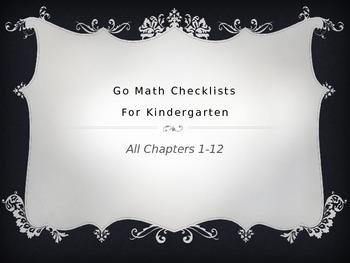 Go Math Kindergarten Checklists Chapters 1-12