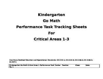 Go Math Kindergarten Critical Areas Trackers for Performance Task (Updated)