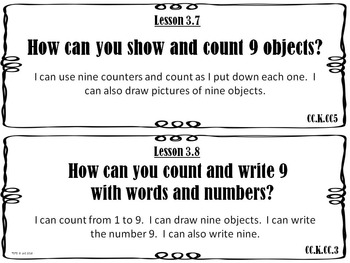 Go Math Kindergarten Essential Questions and I Can Statements