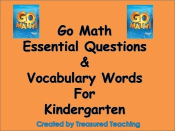 Go Math Kindergarten Essential Questions and Vocabulary-Po