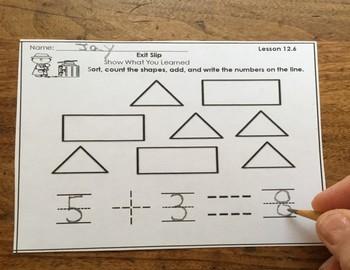 Go Math Kindergarten Exit Slips Chapter 12