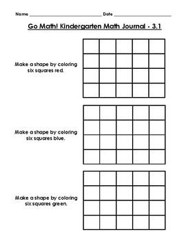 Go Math Kindergarten Journal - Chapter 3