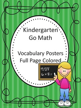 Go Math Kindergarten Full Page Colored Vocabulary Posters