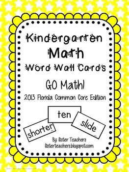 Go Math! Kindergarten Word Wall Cards