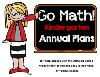 Go Math! Kindergarten Yearly Paced Plan aligned with the Common Core