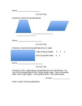 Go Math! Lesson 10.4 Exit Slip Grade 4