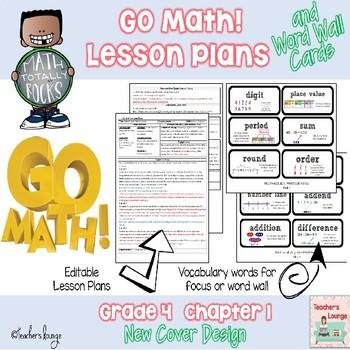 Go Math Lesson Plans Unit 1 -  Word Wall Cards - EDITABLE - Grade 4
