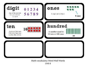 Go Math Lesson Plans Unit 6 - Word Wall Cards - EDITABLE - Grade 1