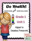 Go Math Lesson Plans Unit 1 - Word Wall Cards - EDITABLE - Grade 1