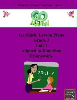 Go Math Lesson Plans Unit 1 - Word Wall Cards - EDITABLE - Grade 3