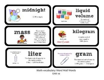 Go Math Lesson Plans Unit 10 - Word Wall Cards - EDITABLE - Grade 3