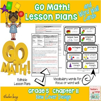 Go Math Lesson Plans Unit 11 - Word Wall Cards - EDITABLE - Grade 5