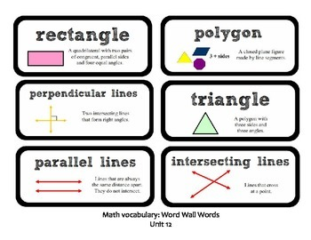 Go Math Lesson Plans Unit 12 - Word Wall Cards - EDITABLE - Grade 3