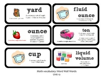 Go Math Lesson Plans Unit 12 - Word Wall Cards - EDITABLE - Grade 4