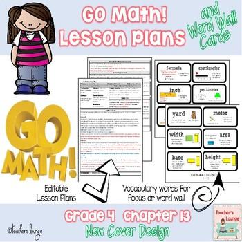 Go Math Lesson Plans Unit 13- Word Wall Cards - EDITABLE -