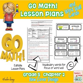 Go Math Lesson Plans Unit 2 - Word Wall Cards - EDITABLE - Grade 5