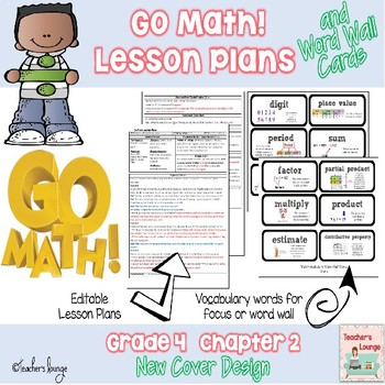 Go Math Lesson Plans Unit 2 - Word Wall Cards - EDITABLE - Grade 4