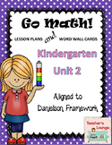 Go Math Lesson Plans Unit 2 - Word Wall Cards - EDITABLE - KINDERGARTEN
