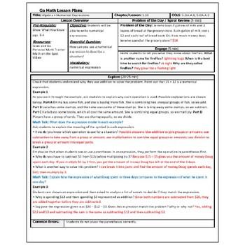 Go Math Lesson Plans Unit 3 - Word Wall Cards - EDITABLE - Grade 5