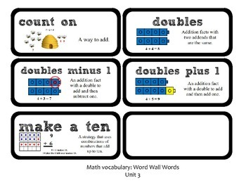 Go Math Lesson Plans Unit 3 - Word Wall Cards - EDITABLE - Grade 1
