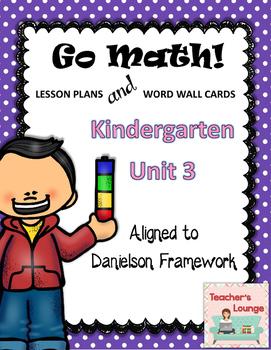 Go Math Lesson Plans Unit 3 - Word Wall Cards - EDITABLE - KINDERGARTEN