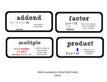 Go Math Lesson Plans Unit 4 - Word Wall Cards - EDITABLE - Grade 3