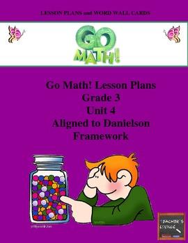Go Math Lesson Plans Unit 4 - Word Wall Cards - EDITABLE -