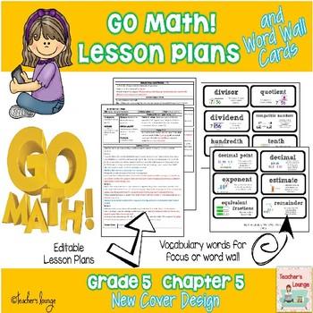 Go Math Lesson Plans Unit 5 - Word Wall Cards - EDITABLE - Grade 5