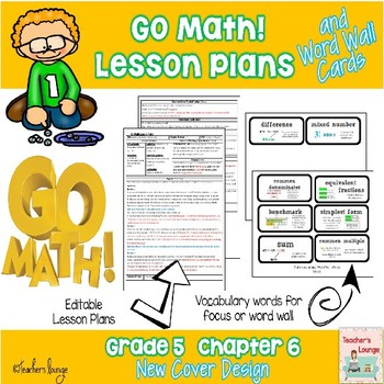 Go Math Lesson Plans Unit 6 - Word Wall Cards - EDITABLE - Grade 5