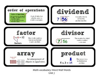 Go Math Lesson Plans Unit 7 - Word Wall Cards - EDITABLE - Grade 3