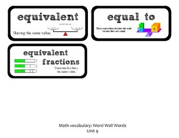 Go Math Lesson Plans Unit 9 - Word Wall Cards - EDITABLE - Grade 3