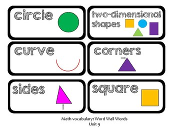 Go Math Lesson Plans Unit 9 - Word Wall Cards - EDITABLE - KINDERGARTEN