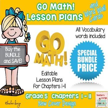 Go Math Lesson Plans Units 1-11 - Word Wall Cards - EDITABLE - Grade 5