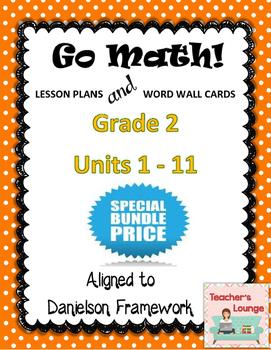 Go Math Lesson Plans Units 1-11 - Word Wall Cards - EDITABLE - Grade 2