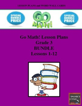 Go Math Lesson Plans Units 1-12 - Word Wall Cards - EDITABLE - Grade 3