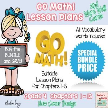 Go Math Lesson Plans Units 1-13 - Word Wall Cards - EDITABLE - Grade 4