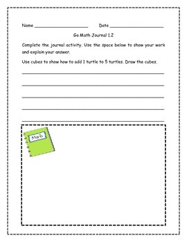 Go Math! Math Journal Activities for Grade 1, Chapter 1