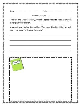 Go Math! Math Journal Activities for Grade 1, Chapter 2