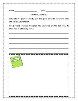 Go Math! Math Journal Activities for Grade 1, Chapter 3