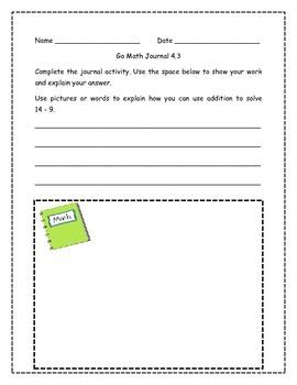 Go Math! Math Journal Activities for Grade 1, Chapter 4